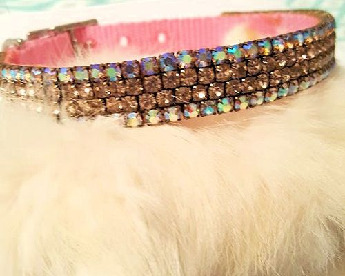 Swarovski-Crystal-Aurora-Boreallis-amp-Pink-Crystal-PINK-Dog-Collar-SZ-9-5-034-11-034