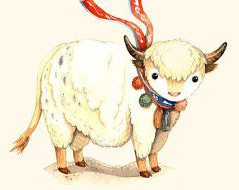 Kinderen muur kunst, Y is voor Jak, alfabet dier, dierlijke Alfabetletters, aquarel, dierlijke muur kunst, dier kwekerij kunst