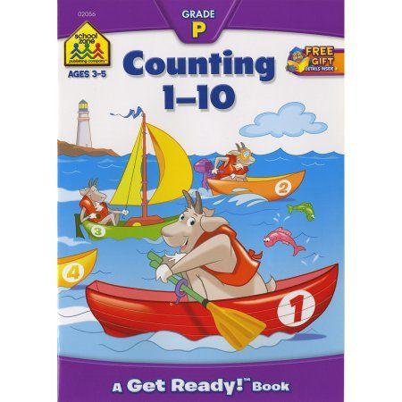 School Zone Preschool Workbooks, Counting 1-10, Multicolor