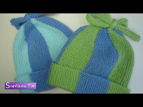 Детская ШАПОЧКА для новорожденных от 0 до 3 месяцев. Вязание спицами # 309 | вяжем деткам | Постила