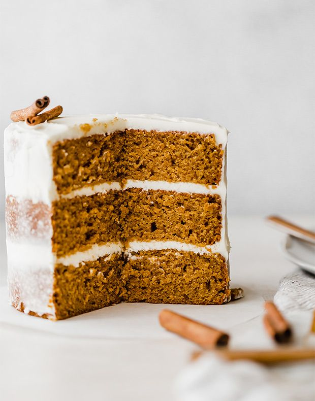 This Moist Pumpkin Cake Is Loaded With All The Delicious Fall Spices And It S Topped With A Silky Smooth Cream C Pumpkin Cake Recipes Cake Recipes Pumpkin Cake