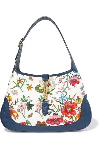 2ce83970b2b Gucci Jackie Hobo medium floral-print canvas and textured leather shoulder  bag