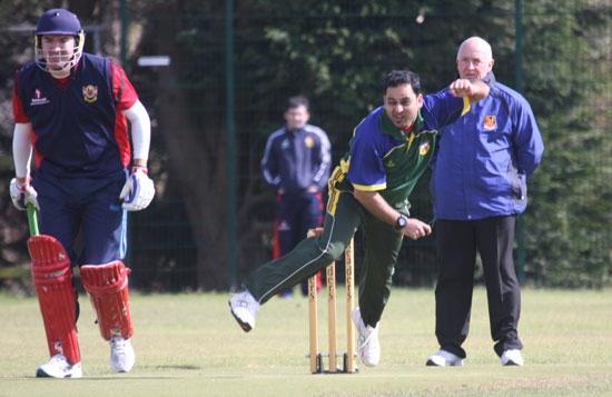 Faran Shahid bowling against Brigade