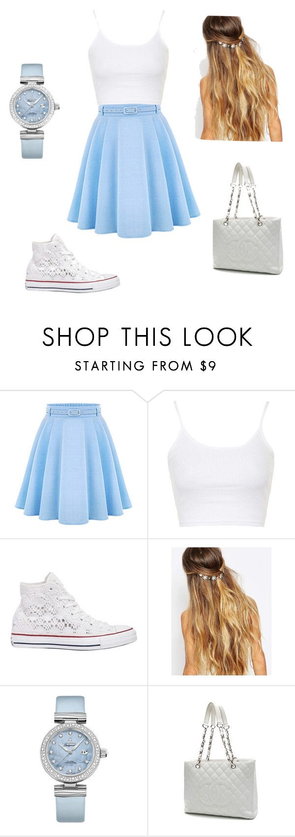 """Blue Cutesy"" by alyssasr013 on Polyvore featuring WithChic, Topshop, Converse, Johnny Loves Rosie, OMEGA, Chanel, women's clothing, women, female and woman"