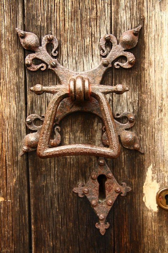 door knocker on wonderful wood door