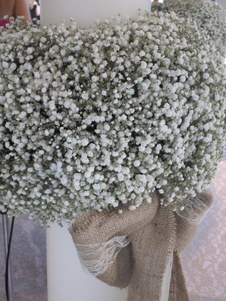 λαμπαδα  γαμου με γυψοφυλλη σε vintage minimal  style