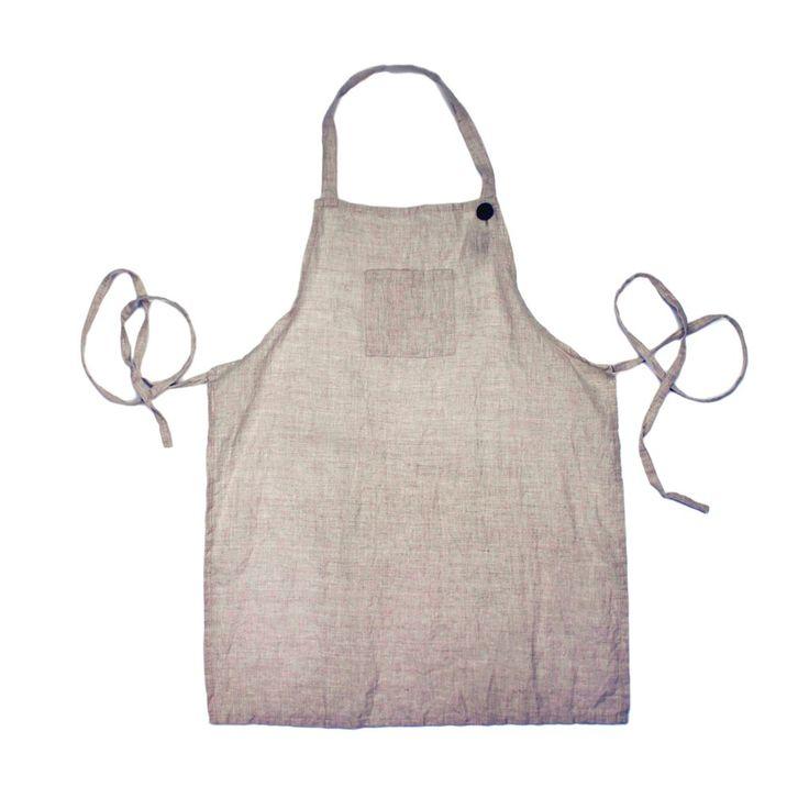 Washed Linen Apron- Natural