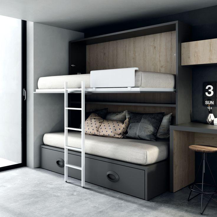 Cama nido con litera abatible #Tegar http://www.aristamobiliario.es/68-camas-abatibles