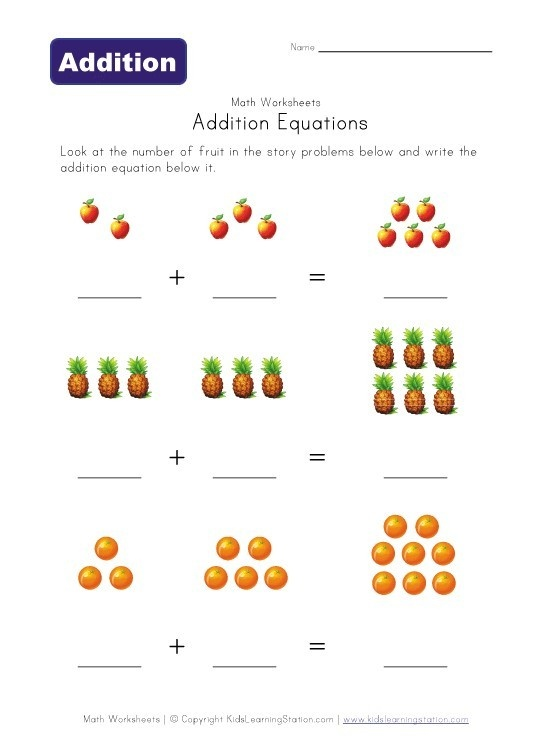 Addition preschool-worksheets