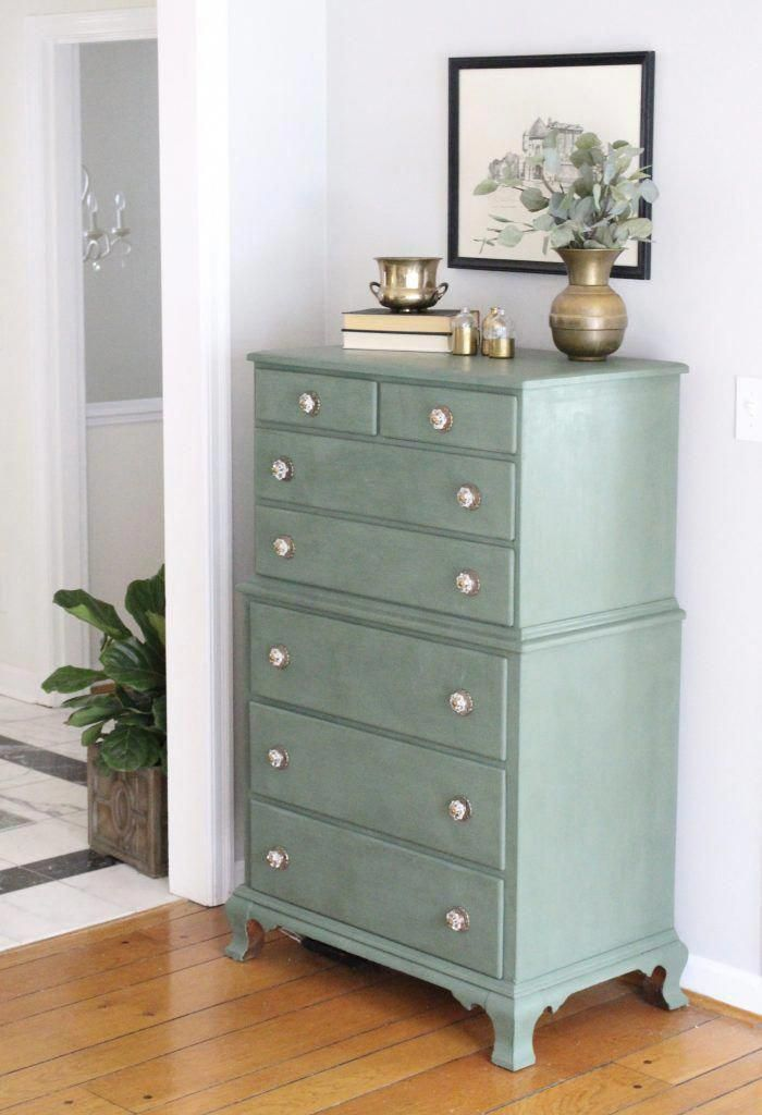 A Wood Dresser Painted Green Amy Howard Paints One Step Paint Cherbourg How To Use Chalk Finish Furniture