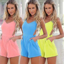 Online Shop Gran tamaño XL v-cuello Backless de la gasa mono mujeres Holiday Beach los mamelucos mujeres Sexy mono Shorts Playsuit #3 SV004665|Aliexpress Mobile