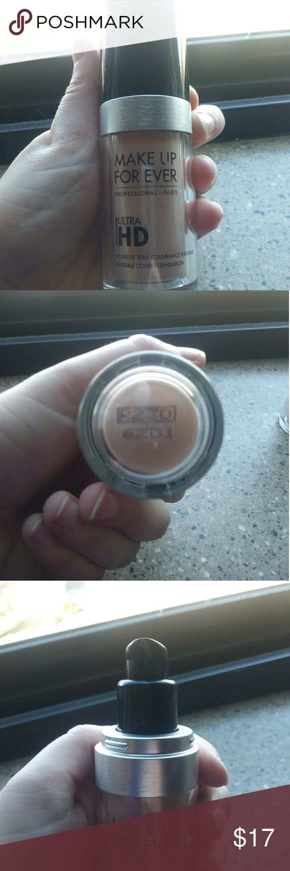 Make Up Forever Ultra HD Foundation (R230) A medium coverage foundation in the shade R230. I do stage makeup and I am decluttering my kit. This foundation is essentially new. I used it for one time so a max of 3 pumps. Makeup Forever Makeup Foundation