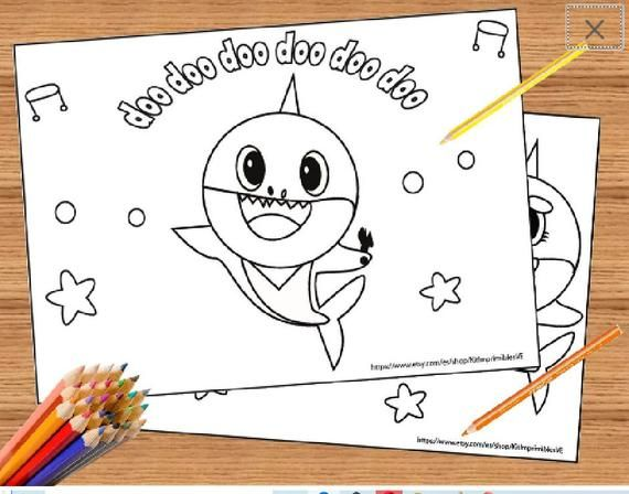Baby Shark Song 10 Coloring Pages Super Simple Coloring Printable Baby Shark Birthday Set Of 10 Coloring Pages In 2020 Baby Shark Song Shark Coloring Pages Baby Shark