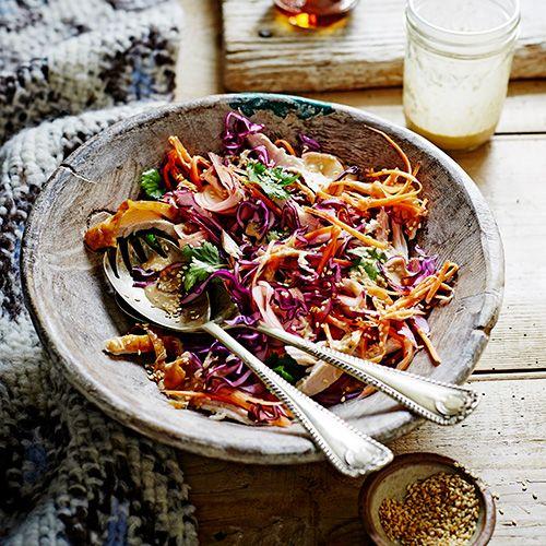 Salade met kalkoen, appel & wortel