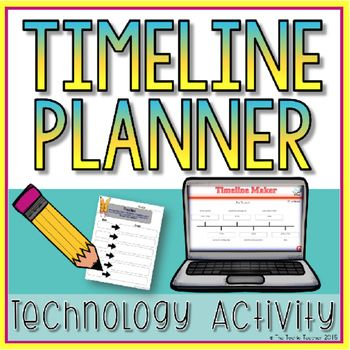 This is a brainstorming planner I use when teaching my students about timelines/history concepts. Students fill in this graphic organizer with 6 main events and then head to the THIS website  that is provided at the top of the paper. Students use their brainstorming sheet to help them complete the digital timeline.