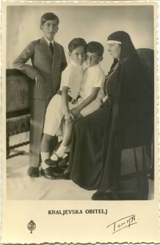"""Widowed Queen Maria of Yugoslavia """"Mignon"""" with her three sons, Peter, Tomislav and Andrew."""