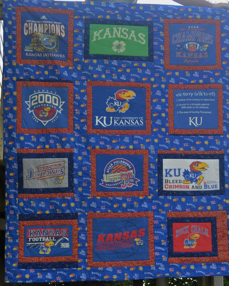 Re-purposed Kansas T-Shirts to make a Kansas Jayhawk T-Shirt quilt ... Rock Chalk .. for sale at the Lawrence Antique Mall on Mass Street ... RyeRaddyCreations