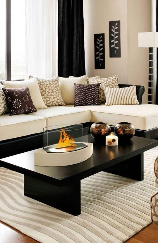 Anywhere Fireplace - Lexington Tabletop Ethanol Fireplace in Beige