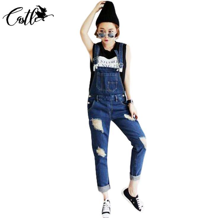 2017 New Korean Streetwear Ripped Loose Denim Jumpsuits Women Romper Long Pants Jeans Casual Lady's Suspender Jeans Trousers