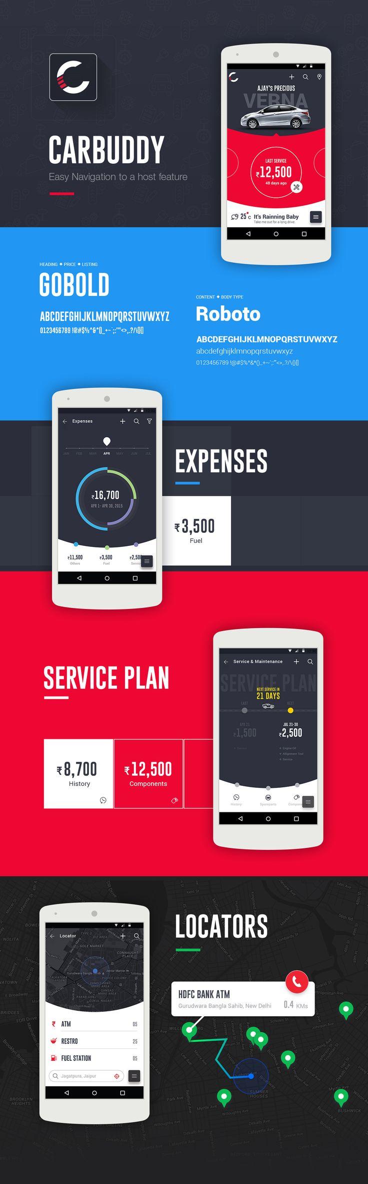 Car service concept. https://www.behance.net/gallery/29230817/Car-Buddy-material-UI-app-v1