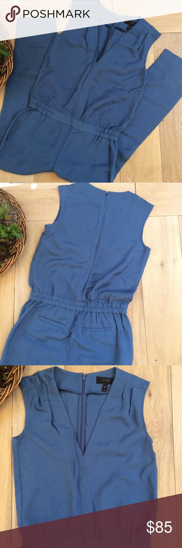 """J. Crew blue Jumpsuit J. Crew blue jumpsuit/romper. 2 front pockets. Inseam approx. 24"""". Waist 15"""" across. Shoulder to waist approx 19"""". Deep V. J. Crew Pants Jumpsuits & Rompers"""