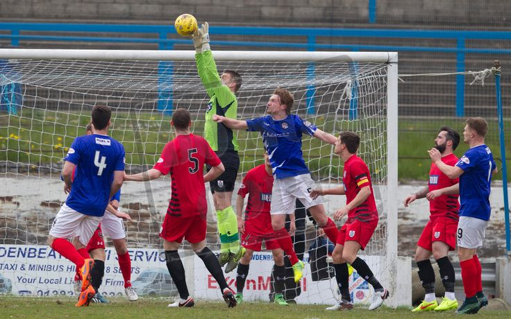 Queen's Park's keeper Wullie Muir cuts out the cross during the SPFL League One play-off game between Cowdenbeath and Queen's Park