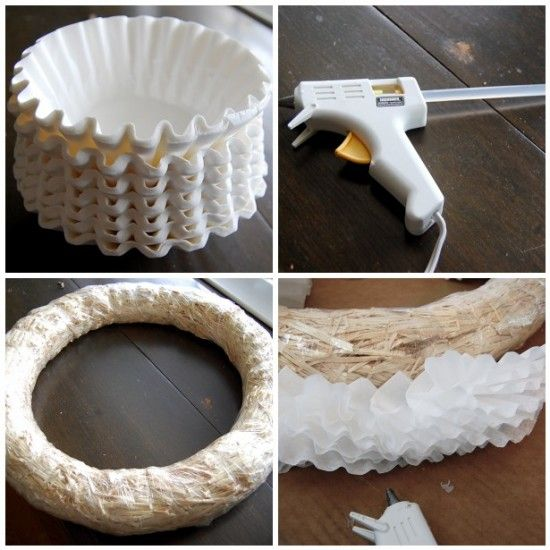 Making a coffee filter wreath. there are other cool things you could do with coffee filters too, I bet