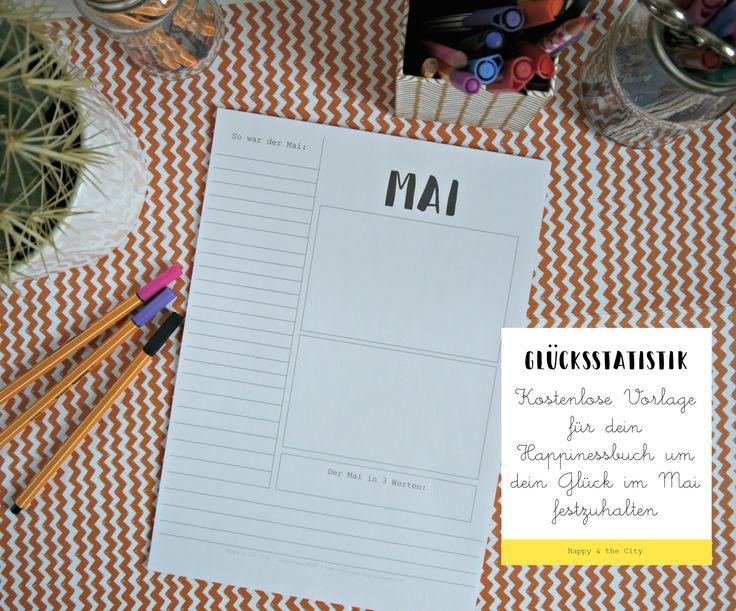Glücksstatistik | Kalender und Journal Printable gratis als Download für dein Happinessbuch | Glückstagebuch | kostenlos herunterladen | Mai 2017 | Scrapbook free printable