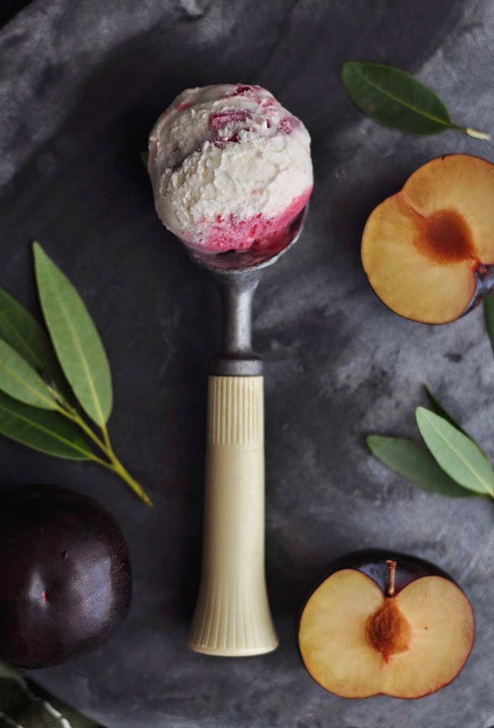 Bay Leaf and Roasted Plum Ice Cream