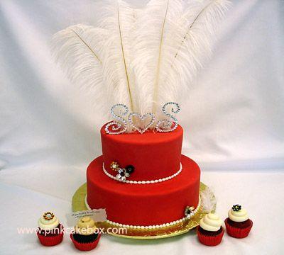 2 Tiered Red Wedding Cake | http://blog.pinkcakebox.com/2-tiered-red-wedding-cake-2007-10-02.htm