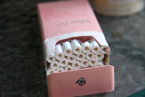 Cigarettes with little hearts on the bottoms