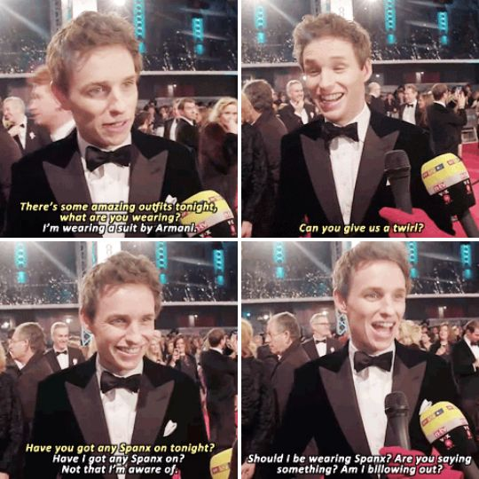 When we asked him some red carpet questions usually reserved for women, and he totally took them in his stride. | 23 Times Eddie Redmayne Was A Gift We Didn't Deserve