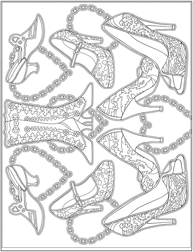 ESCAPES Fashion Art Coloring Book by: Marty Noble - Welcome to Dover Publications - Coloring Page 6