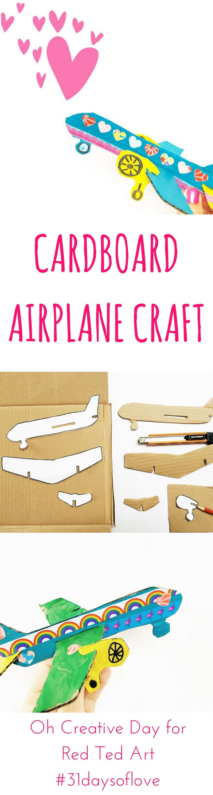 Cardboard Airplane template and instructions