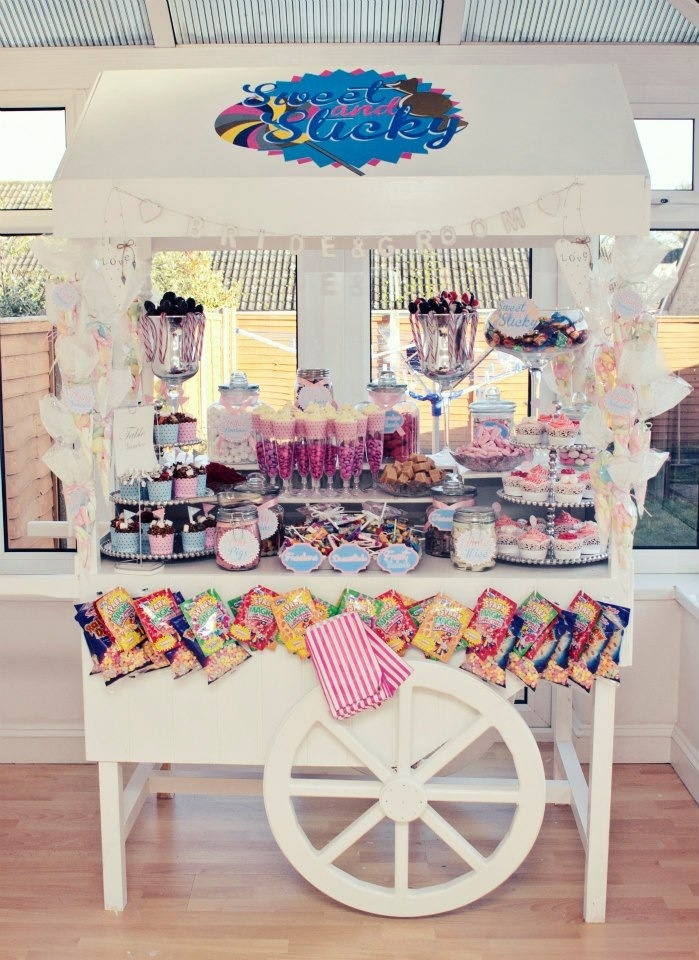 Gorgeous sweet and cake cart for weddings and parties! FB sweet and sticky x