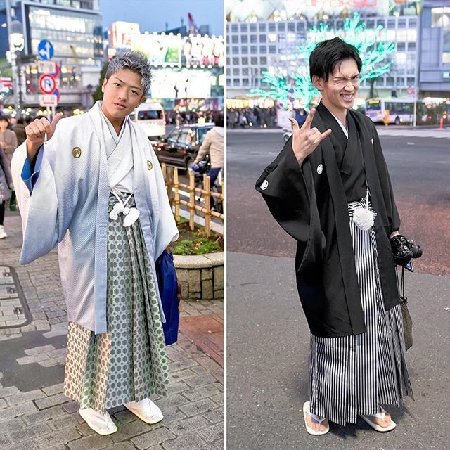 We met a number of young Japanese men wearing traditional fashion on the streets of Tokyo on Coming of Age Day 2017, in addition to all of the women in kimono.