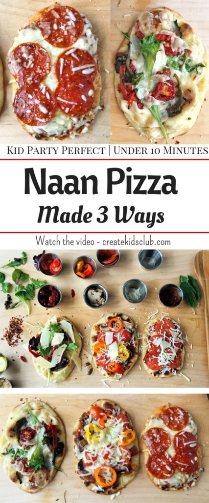 Naan Pizza Party (or flatbread) is the perfect sleepover party food. Kids can make these individual sized pizzas with the toppings they like. Bakes up in just 5 minutes. Perfect served cold in a lunch box.