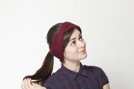 Vinous Turban Ear Warmer Headband, Red Boho Knit Headband, Bordo Headband Ear Warmer, Knitted Head Band, Turban Style Headband for Women hat