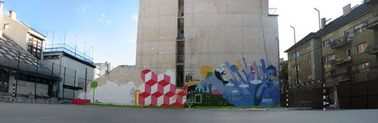Street art az iskolaudvaron - Design Pumpa