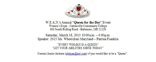 """Queen for a Day"" for women with disabilities sponsored by W.E.A.N director, Janice Jackson at the Womens Expo in March 2013"