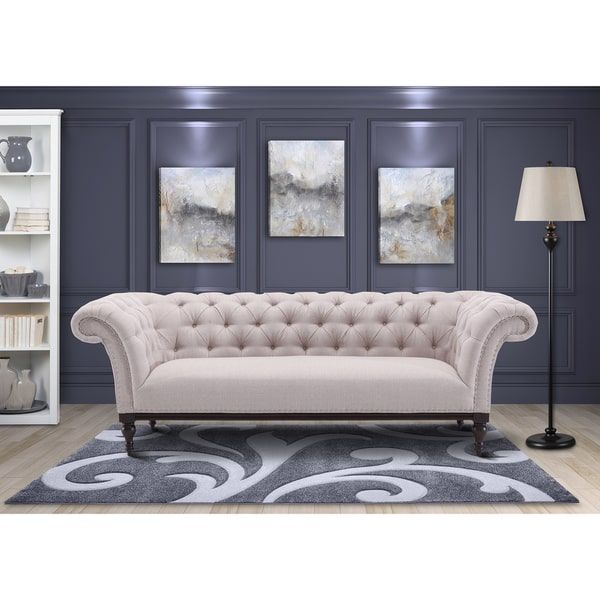 Armen Living Avery Sofa in Sand Fabric with Dark Brown Legs