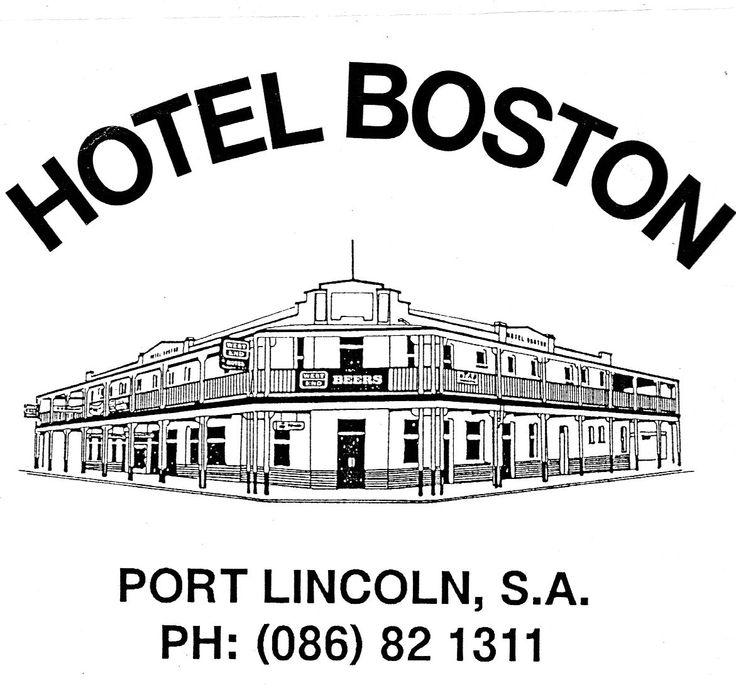 """""""Hotel Boston, Port Lincoln"""". Line illustration for beer stubby holder."""