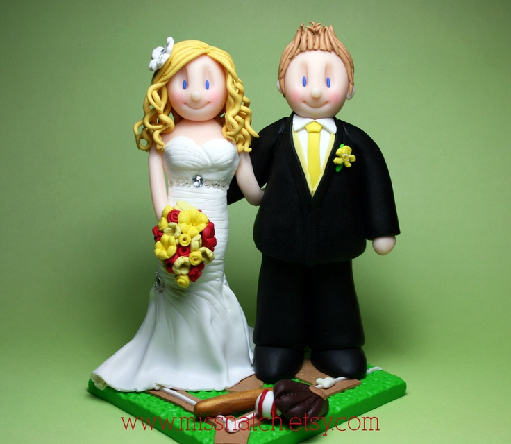 Softball Lover meet at Ball Diamond Wedding Cake Topper