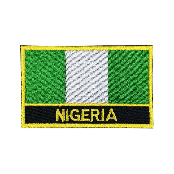 Nigeria Flag Patch Embroidered Patch Gold Border Iron On patch Sew on Patch Bag Patch meet you on www.Fleckenworld.com