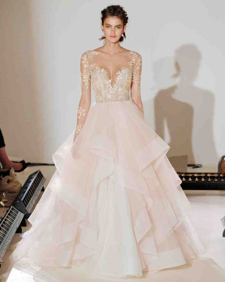 The 9 Best Wedding Dress Trends from Bridal Fashion Week | Martha Stewart Weddings - Pink and Blue