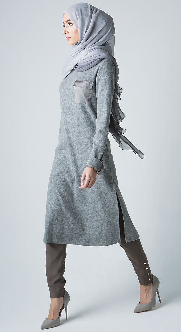Ribbed Sweater Midi - Grey