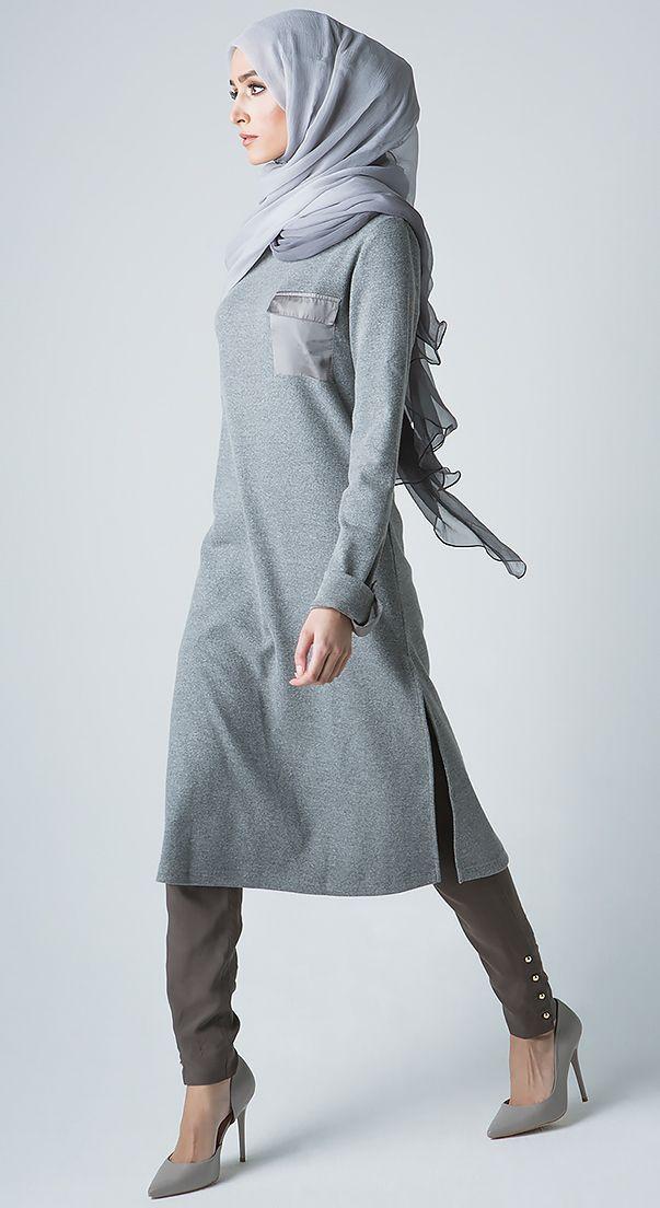 Ribbed Sweater Midi - Grey