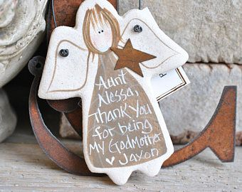 Personalized Godmother Gift Salt Dough Ornament Angel Baptism Gifts