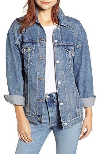 76da13f311 MONYRAY Giacca di Jeans Donna Larga Giubbotto Cappotto in Denim Oversize  Giacchetto Trucker Vintage Blu L