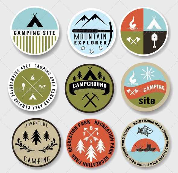 Camping Badges Set  #GraphicRiver        This vector set contains 9 vintage styled badges. The graphics are 100% vector and are completely editable. Only free